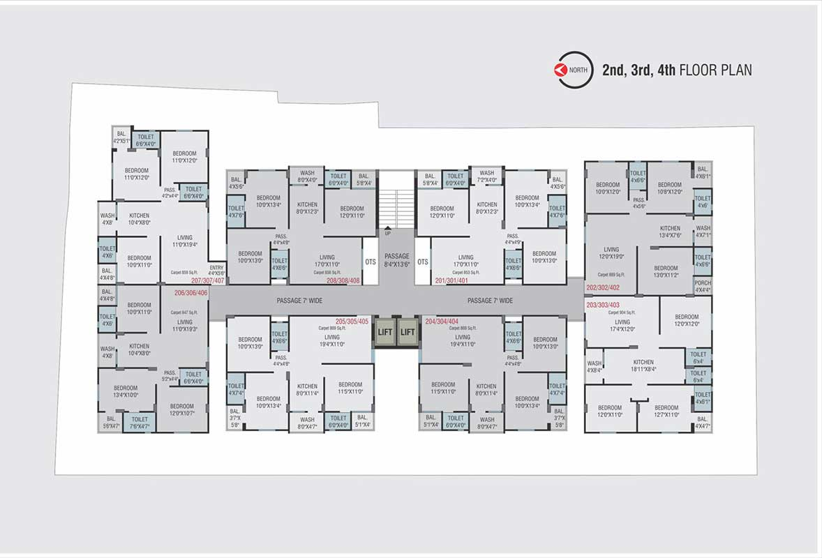 2nd 3nd 4th floor Plan
